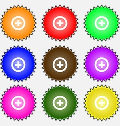 Plus Positive icon sign A set of nine different vector image
