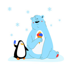 polar bear and penguin eating ice cream - flat vector image