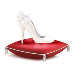 princess shoe pillow realistic composition vector image