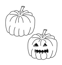 Pumpkin jack with carved halloween isolated vector