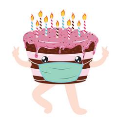 Quarantine birthday choco cake vector
