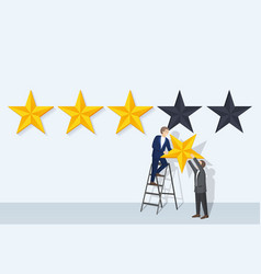 Rating man and big stars vector
