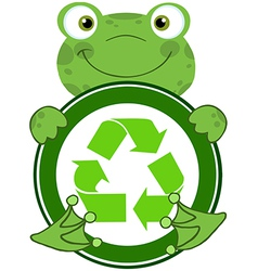 Recycle eco logo frog vector image