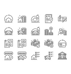 Refinance line icon set vector