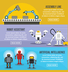robot assistant banner horizontal set flat style vector image