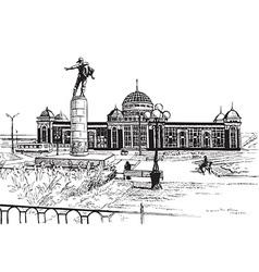 Saransk train station city skyline vector