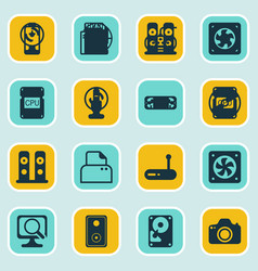 Set of 16 computer hardware icons includes laptop vector