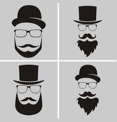 Set of fashion silhouette hipster style old vector