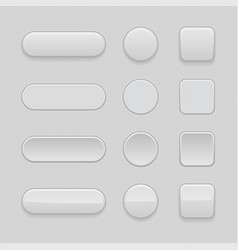 set of gray matted blank buttons normal and vector image