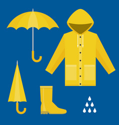 set of rainy season in flat design vector image