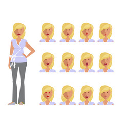 set of woman expression vector image