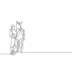 Single continuous line drawing young professional vector