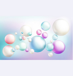 Soap bubbles or colorful glossy flying spheres vector