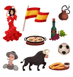 Spanish traditional symbols and objects vector