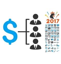 Staff Payment Icon With 2017 Year Bonus Symbols vector image
