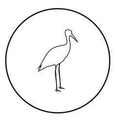 stork ciconia icon black color in circle round vector image
