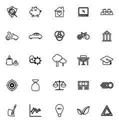 Sufficient economy line icons on white background vector