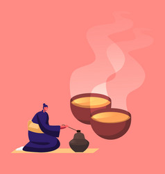 tiny female character in traditional chinese vector image