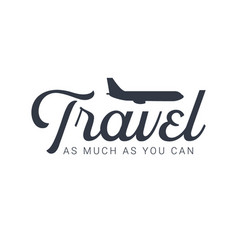 Travel logo template with airplane vector
