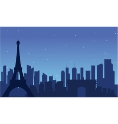 View of eiffel tower silhouette vector