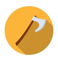 Viking battle-axe icon in flat style isolated on vector image
