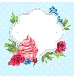 Vintage invitation card watercolor cupcakes vector