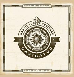 vintage navigator label vector image