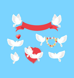 White pigeons holding red ribbon flower wreath vector