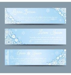 Winter snowflakes banner template set vector