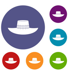 Woman hat icons set vector