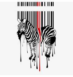 zebra silhouette with bar code vector image