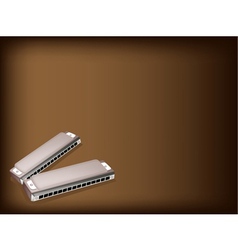 Blues Harmonica Brown Background vector image vector image