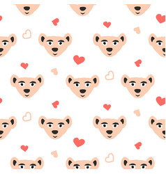 cute bear pink fun seamless pattern for kids and vector image vector image