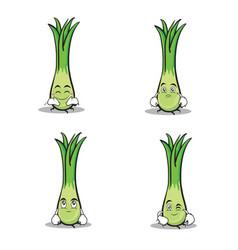 leek character cartoon set collection vector image vector image