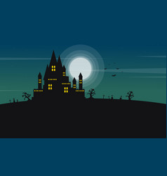 silhouette of castle and moon halloween landscape vector image vector image