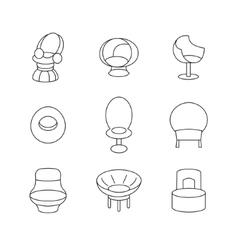 Sofa Outline Set vector image