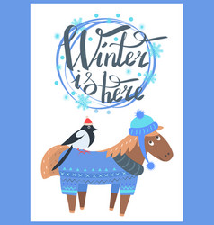 winter is here promo poster vector image vector image