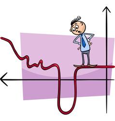 businessman on graph curve cartoon vector image