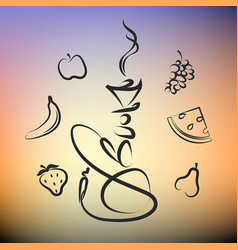 hookah with different fruit silhouette vector image