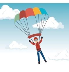 man parachute extreme sport design vector image