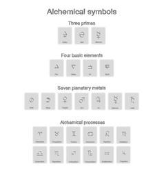 monochrome icons set with alchemy symbols vector image