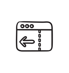 Browser window with arrow left sketch icon vector