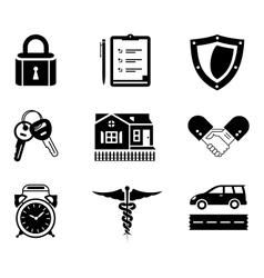 Handshake insurance icons vector image vector image