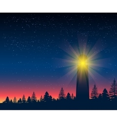 Landscape with silhouette of lighthouse at night vector image vector image