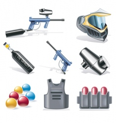paintball icon set vector image vector image