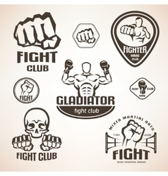 Set of fighting club emblems MMA boxing labels vector image vector image