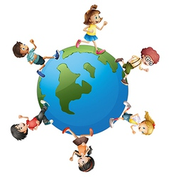 Six kids walking around the planet earth vector