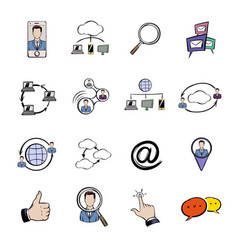 social network icons set cartoon vector image