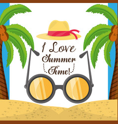 summer hat and sun glasses over sand with a vector image