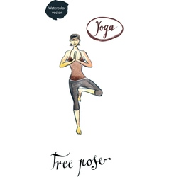 yoga tree pose vector image vector image